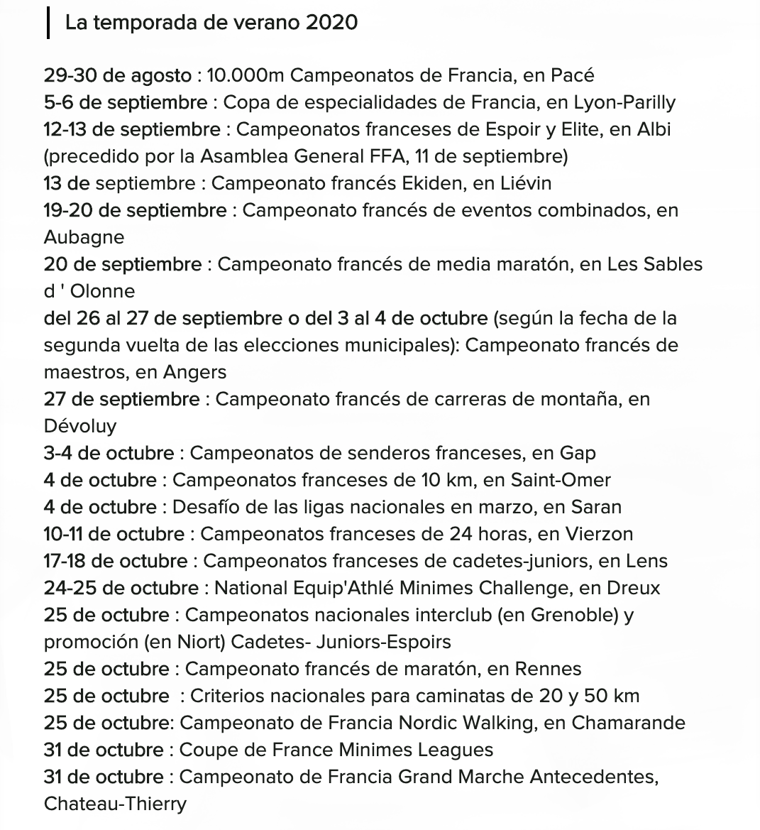 CALENDARIO 2020 FRANCIA ATHLETICS
