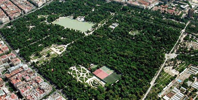vista aerea parque retiro madrid